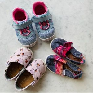 3 Pairs Baby/Toddler TOMS Stride Rite Shoes 4 5